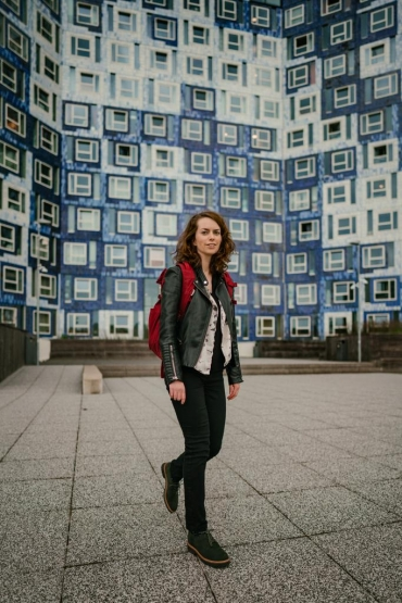 Veterinary Medicine student Heather Graham in front of the Johanna student complex at Utrecht Science Park
