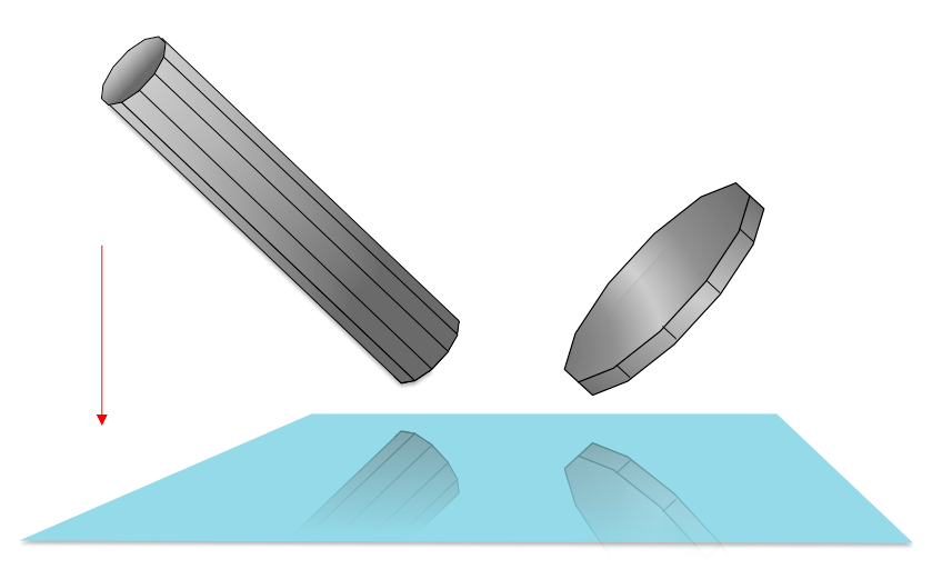 a (virtual) coin and pencil manipulated in 3D space