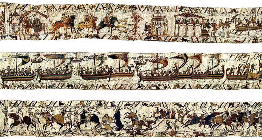 Het tapijt van Bayeux is een borduurwerk van 70 meter lang en 50 cm hoog, dat de geschiedenis uitbeeldt van de slag bij Hastings in 1066. Bron: Wikimedia Commons