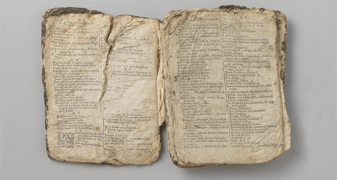 Dutch-French dictionary salvaged from the Behouden Huys at Nova Zembla as a remnant of the Barentsz expedition of 1596-1597. Bron: Rijksmuseum.nl