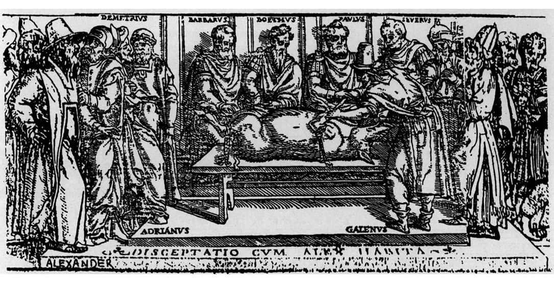 Image from the bottom panel of the title page to the 1541 Junta edition of Galen's Works. Depicts Galen demonstrating that the recurrent laryngeal nerves render an animal voiceless when cut. Source: Wikimedia