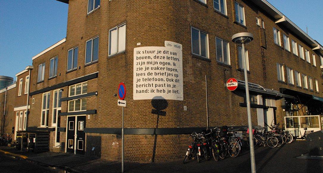 Muurgedicht van Ingmar Heytze in de Dichterswijk in Utrecht.