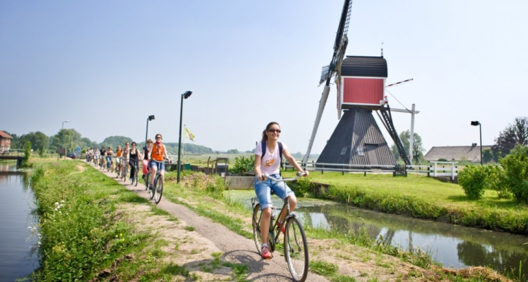 Cycling people in the Netherlands