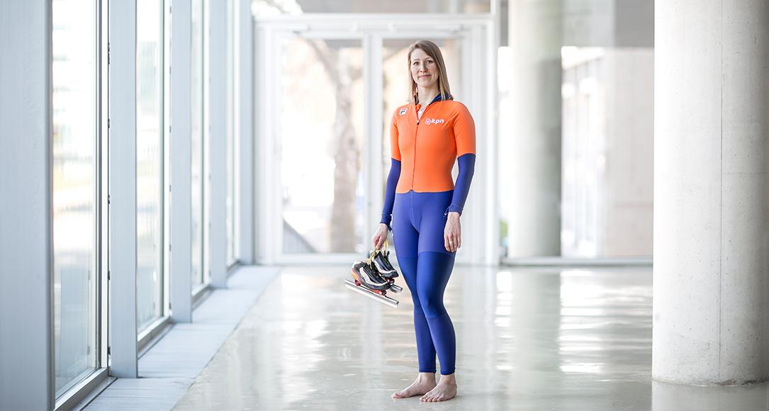 Jessica Merkens, winnaar van de bronzen medaille bij de World University Championships Speed Skating.
