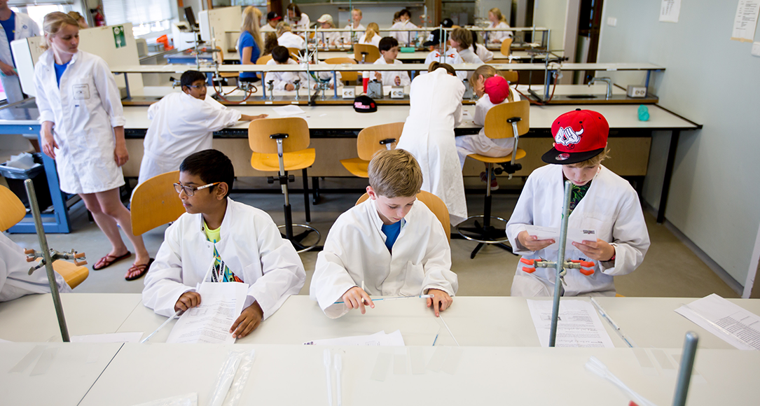 Kinderen die deelnemen aan de Summerschool Junior zijn aan het werk in het lab.