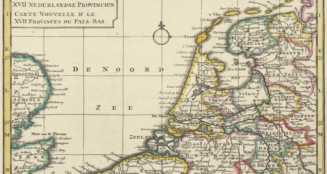 Topografische kaart van Nederland uit 1745.