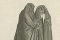 De huik - rouwmantel voor mannen en vrouwen, in algemeen gebruik tot eind 18e eeuw, en langer in streken waar klederdracht werd gedragen - Bernard Picart, 1733. Bron: Rijksmuseum.nl