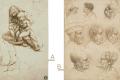 Tekeningen Leonardo da Vinci. A) Jonge vrouw de voeten wassend van een peuter (1478-80). Porto, Faculdade de Belas Artes, Universidade do Porto. B) Studies van acht hoofden (ca. 1490-1495). Royal Collection Trust/© Her Majesty Queen Elizabeth II 2018