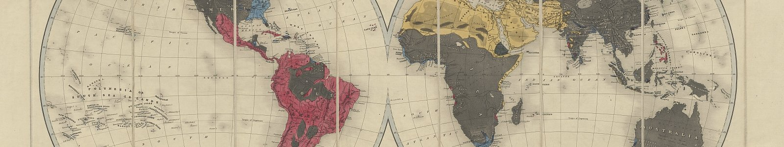 'The Protestant missionary map of the world', door Edward Gover (Seeley, Burnside and Seeley: Londen 1846)