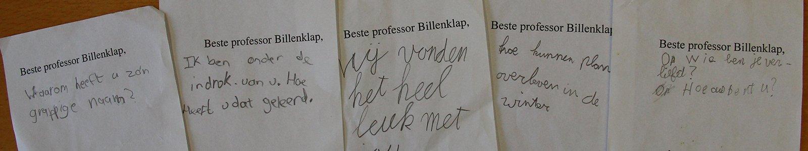 Briefjes van kinderen aan Professor Billenklap