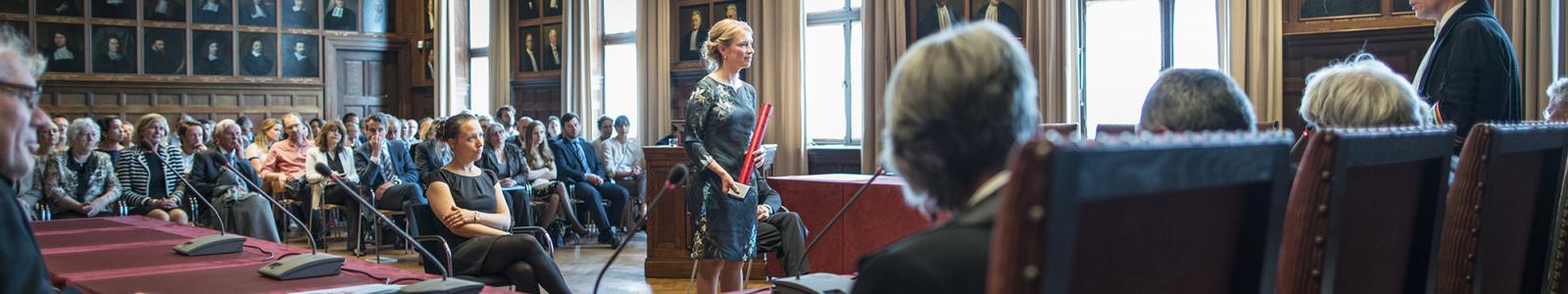 Promotieplechtigheid in de Senaatszaal van het Academiegebouw van de Universiteit Utrecht.