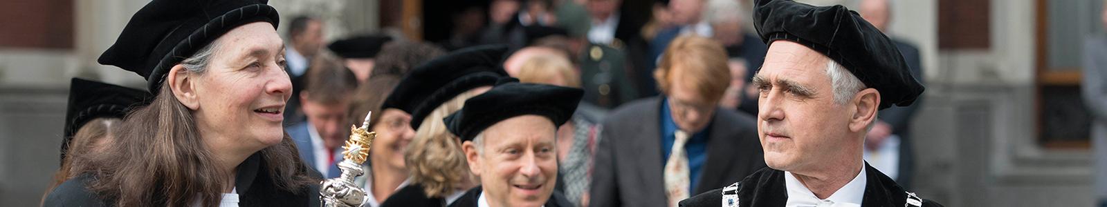 De Pedel en rector magnificus tijdens Dies 2014, de viering van het bestaan van de Universiteit Utrecht.