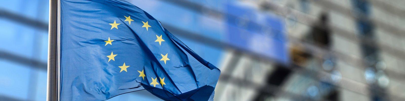 Europa flag and EU building