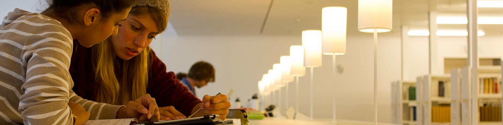 Studenten die onderwijs volgen aan de Universiteit Utrecht studeren in tweetal in de bibliotheek.
