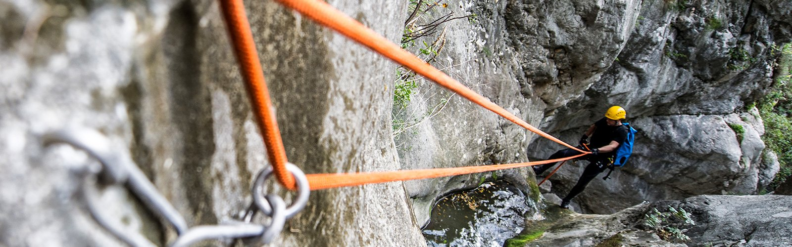 Climber connected to the rocks