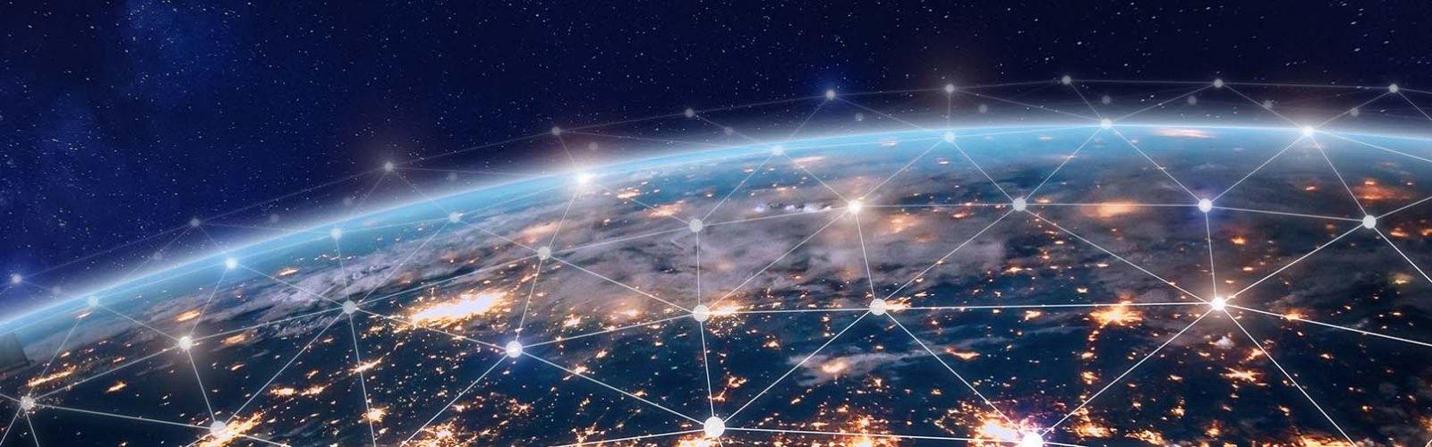 Aarde in de nacht met verbonden lichtpunten