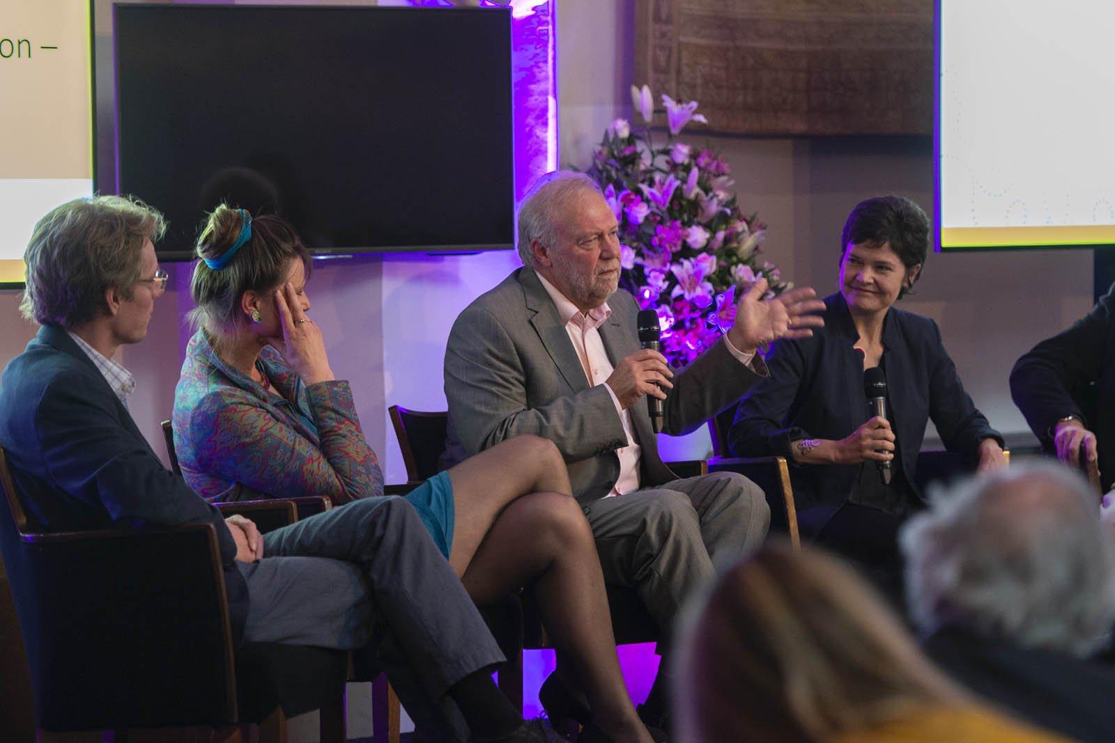 Joost de Laat, Marjan Minnesma en Kate Raworth tijdens het Social Entrepreneurship Festival 2018