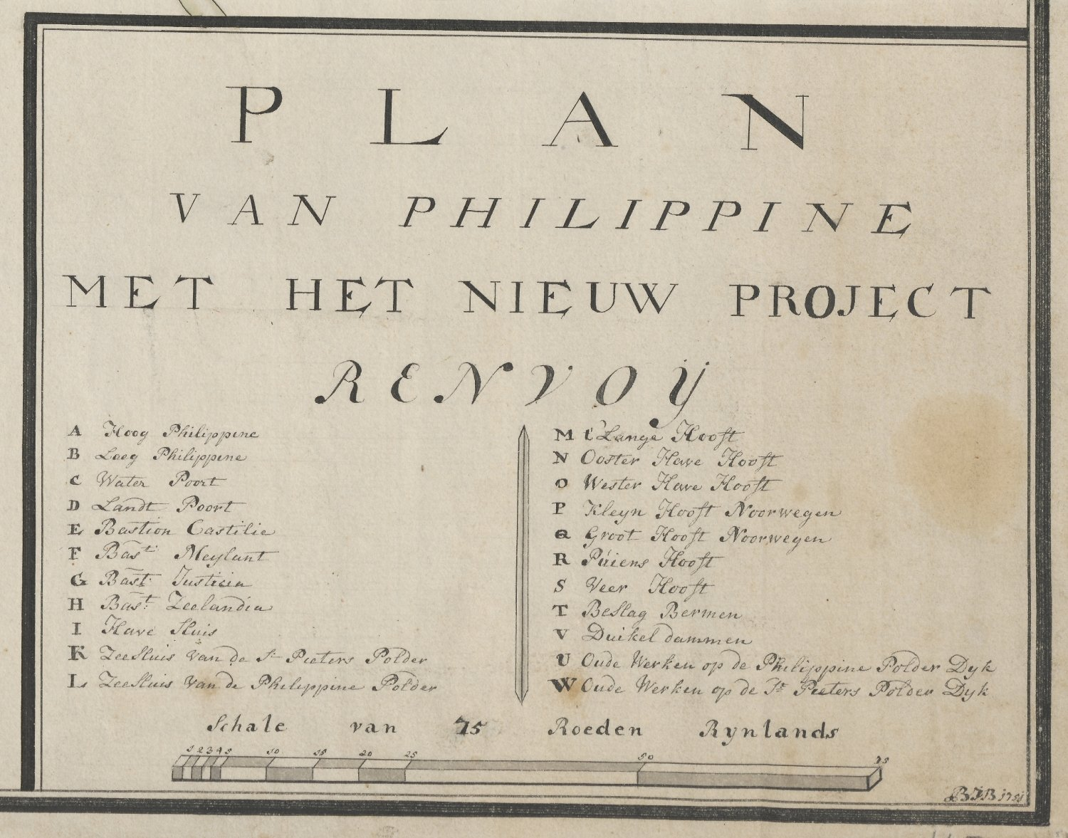 Legenda fortificatieplan voor Philippine, 1751