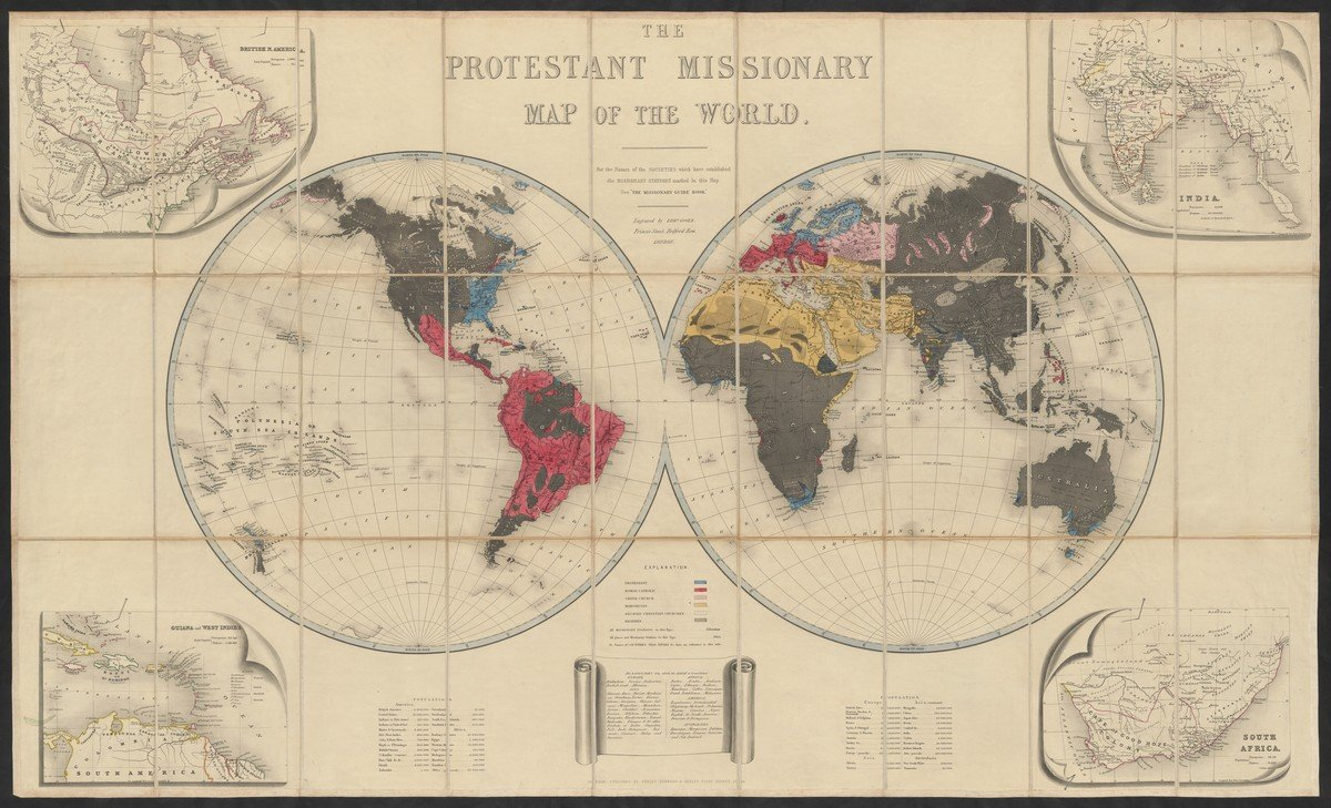 'The Protestant missionary map of the world' door Edward Gover (Seeley, Burnside and Seeley : Londen 1846)