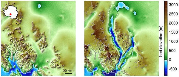 Left: previously constructed image of the Antarctic bedrock. Right: a much more detailed image of the same area, constructed with the new technique.
