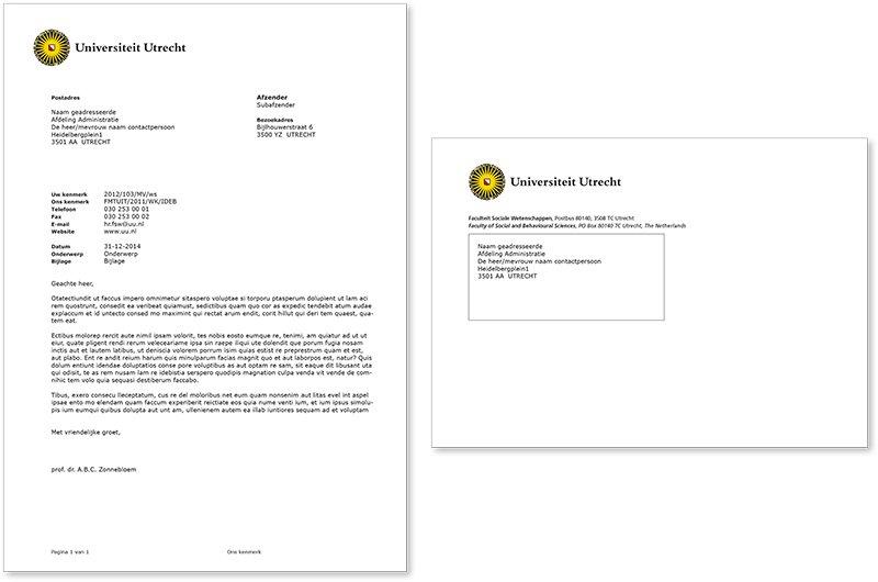 Voorbeeld van een voorbedrukte brief en envelop