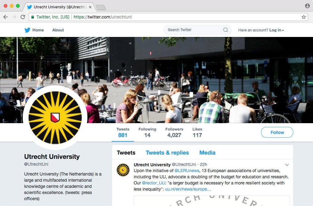 UU corporate avatar op Twitter