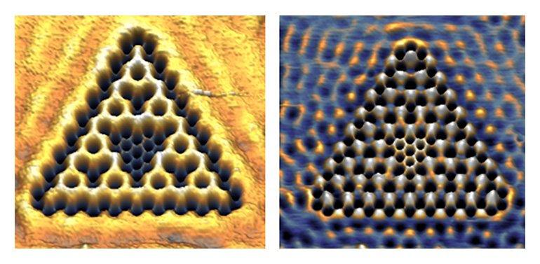Electrons in bonding (left) and non-bonding (right) Sierpiński triangles; scale bar 2nm. (Figure: Kempkes et al., Nature Physics, 2018)