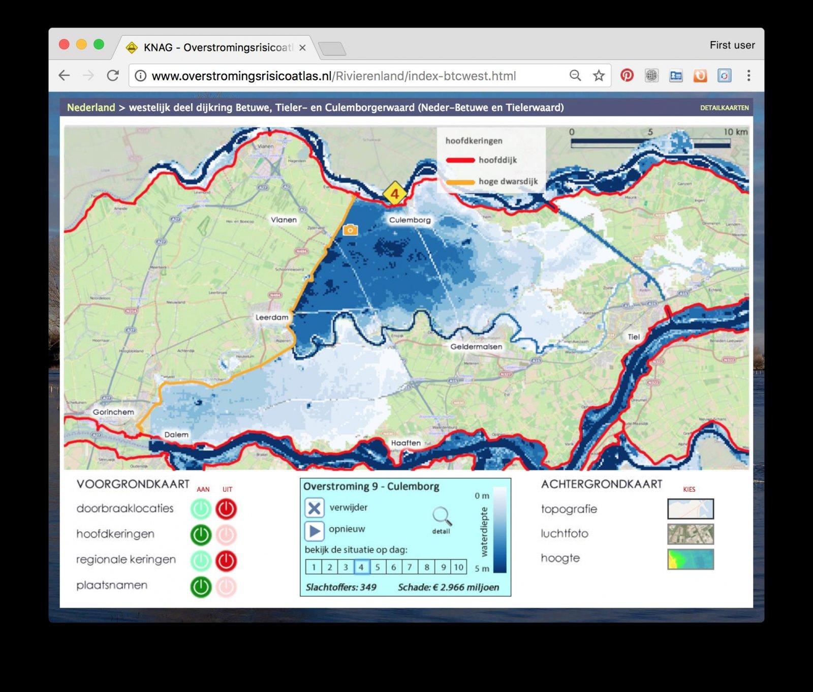 Screenshot showing flood models around Culemborg
