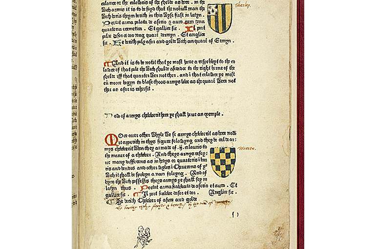 Book of Saint Albans: Colour printing and obscene drawing in pencil added below text. Source: Wikimedia/Cambridge University Library