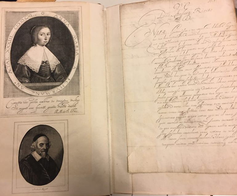 Koninklijk Bibliotheek Den Haag KW 133 B 8: A collection of 74 of van Schurman's autograph letters including this letter to André Rivet, accompanied by their portraits