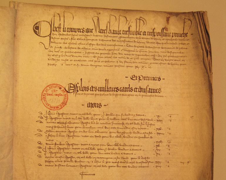 Mortmain rekening september 1400 september 1401 (Algemeen Rijksarchief Brussel Rekenkamer Brussel I 004 bestand 17870 folio-1)