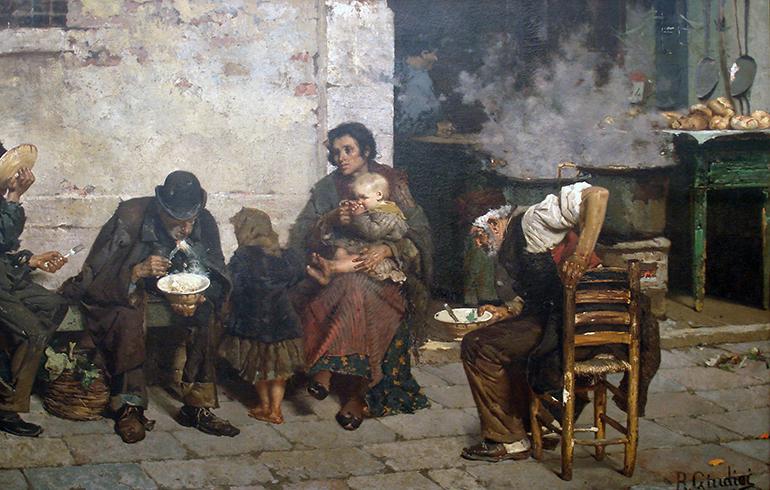 La sopa de los pobres (Venecia) - Giudici, Reynaldo (Italia, Lenno, 1853 – Argentina, 1921). Bron: Wikimedia
