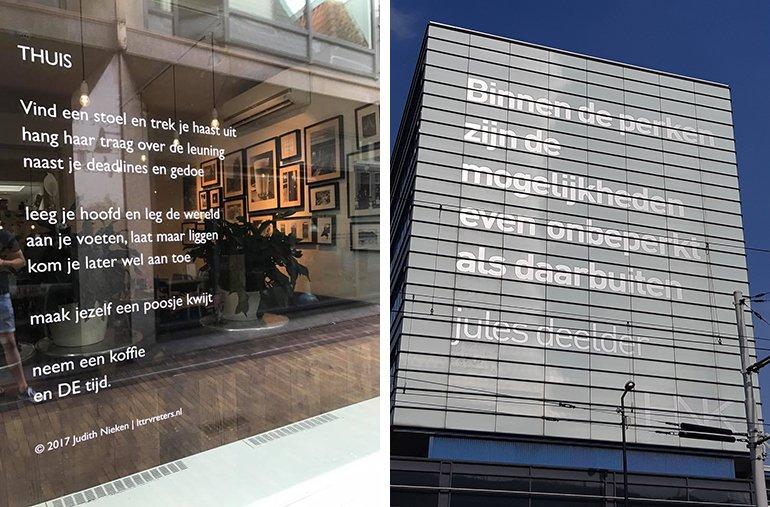 Links: Thuis van Judith Nieken. Rechts: Binnen de perken van Jules Deelder. Bron: straatpoezie.nl