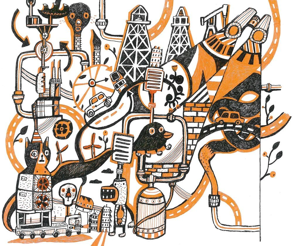 ilustration of abstracht urban area in black, orange and white