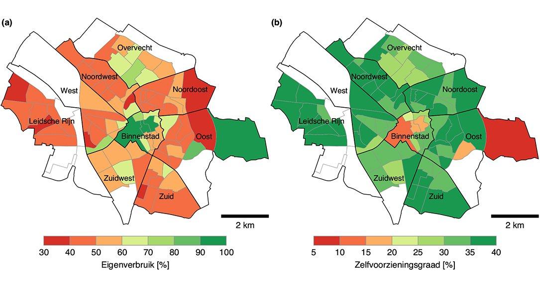 Kaart van de stad Utrecht met eigenverbruik en de zelfvoorzieningsgraad per wijk