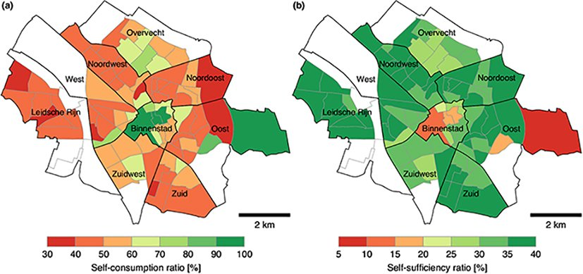 City map of Utrecht with self-consumption ratio and self-sufficiency ratio