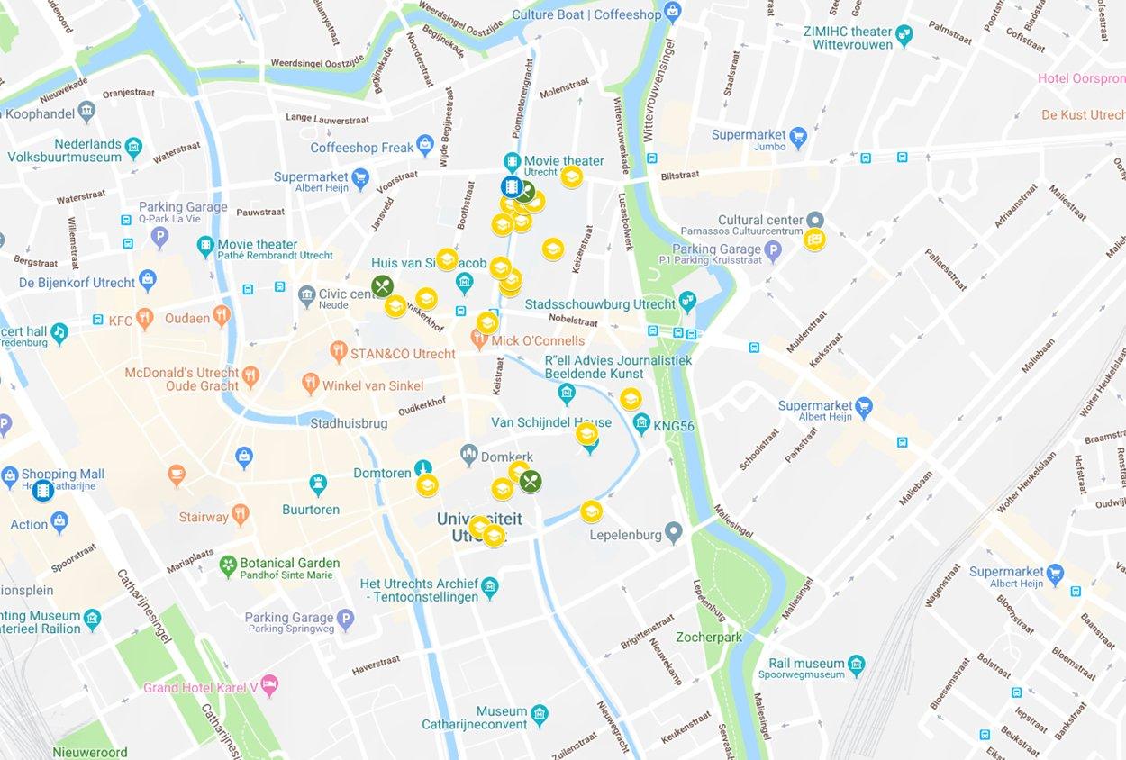 Plattegrond Binnenstadscampus Universiteitskwartier