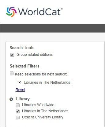 UB WorldCat screenshot nationaal zoeken