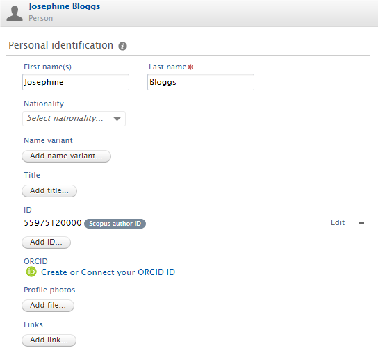 Screenshot van Pure waarin u de optie om ORCID te koppelen ziet