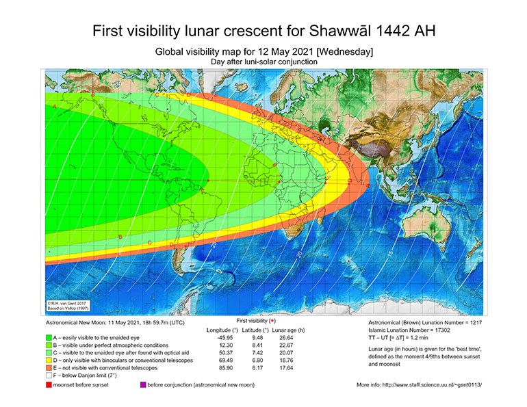 World map first visibility lunar crescent for Shawwal 1442 AH