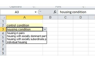 Drop-down menu for controlled terminology for housing conditions