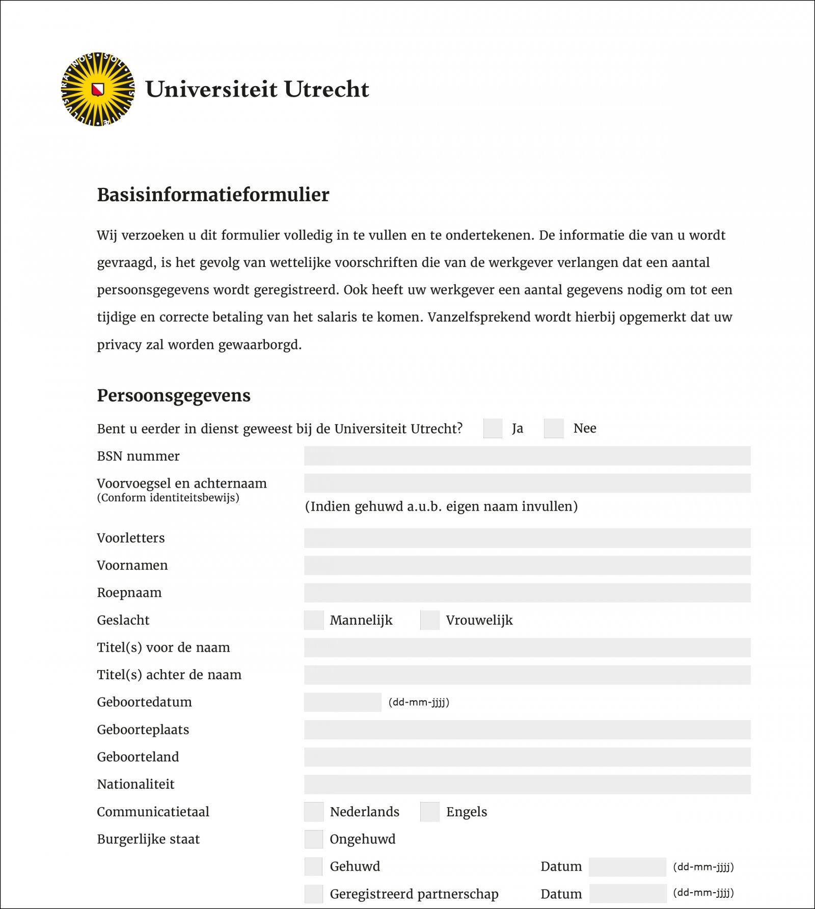 Voorbeeld digitaal formulier
