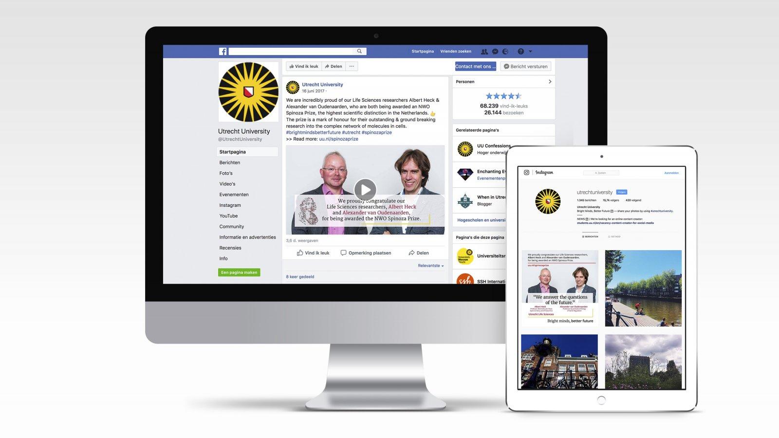 Spinozapremie-uitingen voor Facebook en Instagram
