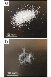 Microplastic fragments and fibres used in the experiment
