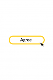 Icon with an arrow pointing to a sentence in a box which reads I agree