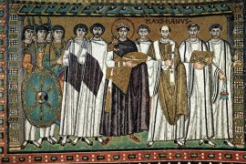 Court of Emperor Justinian with (right) archbishop Maximian and (left) court officials and Praetorian Guards; Basilica of San Vitale in Ravenna, Italy - Wikimedia Commons