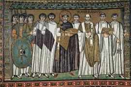 Middeleeuws mozaiek, San Vitale, Ravenna, foto Wikimedia Commons/The Yorck Project