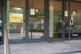 The doors of the alternative entrance of the Buys Ballot Building  (main entrance through Victor J. Koningsberger Building)
