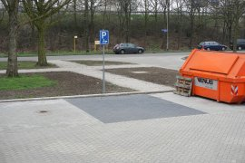 The accessible parking space at the Caroline Bleeker building