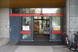 View of the doors of the main entrance of the Hugo R Kruyt building